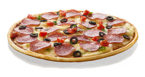 Italian pizza on white background Royalty Free Stock Photo
