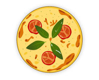 Italian pizza on a white background. Painted tasty pizza  on a white back Royalty Free Stock Images