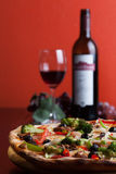 Italian Pizza and wine Stock Photography