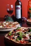 Italian Pizza and wine Royalty Free Stock Photos