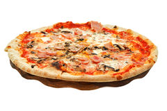 Italian Pizza With Mushrooms And Ham On Wood Board Royalty Free Stock Photography