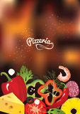 An italian pizzeria menu concept. Idea of Identity of restaurant with close up vector pizzas toppings and hand drawn logo on blurr Royalty Free Stock Images