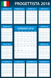 Italian Planner blank for 2018. Scheduler, agenda or diary template. Week starts on Monday.  Stock Photo