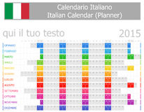 2015 Italian Planner Calendar with Horizontal Months Royalty Free Stock Images