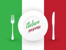 Italian plates and cutlery Stock Photos