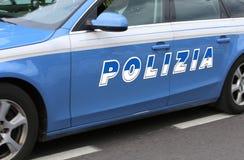 Italian police car with big written POLIZIA Stock Photos
