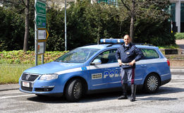 Italian police car and policeman Stock Image