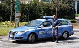 Italian police car and policeman Stock Image