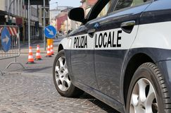 Italian police car during the roadblock in the street Royalty Free Stock Photo