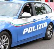 Italian police car with written POLIZIA patrols the streets Royalty Free Stock Image