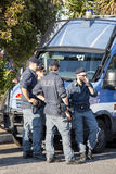 Italian police for demonstrations and events. Armored car Stock Photo