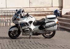 Italian police motorcycle. Police motorcycle in the street in Italy Royalty Free Stock Images