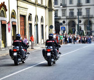 Italian police in motorcycle Stock Images