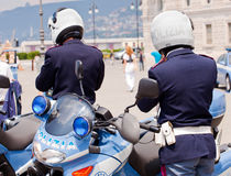 Italian Police Motorcycles Stock Photo