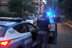 Italian police officers in action. Rome, Italy - August 9, 2018: Italian police in action. The Polizia di Stato is one of the national police forces of Italy stock photography