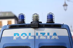 Italian police pickup truck with the big written Royalty Free Stock Photography