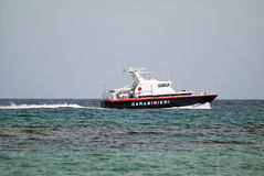 Italian police ship. Italian police boat during the anti-smuggler assault Royalty Free Stock Images