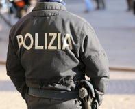 Italian policeman during an anti-terrorist patrol on the streets Royalty Free Stock Photo