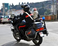 Italian policeman on a motorcycle in Italy Stock Photo