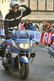 Italian policeman on a motorcycle in Italy Stock Photos