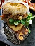 Porchetta sandwich stock photo