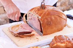 Italian Pork Ham Roasted in Bread Royalty Free Stock Photos