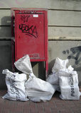 Italian postal service... A postman maybe forget his bags Royalty Free Stock Photos