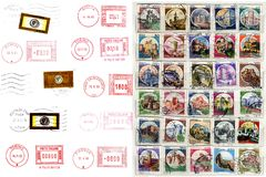 Italian postmarks, labels, post stamps Stock Photography