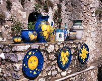Italian pottery, Ravello, Italy. Royalty Free Stock Photo