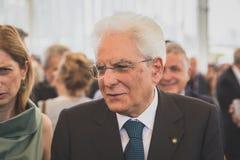 Italian President Mattarella visiting Expo 2015 in Milan, Italy Royalty Free Stock Photo