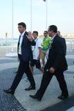 Italian Prime  Minister Matteo Renzi attends Rio 2016 Olympics men`s road race at Copacabana Beach in Rio de Janeiro Stock Photography
