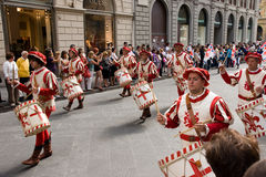 Italian procession of drummers Stock Photography