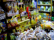 Italian produce in Sorrento Italy. Food and drink with themes of lemons and fruit on sale in Sorrento Italy Stock Image