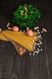 The Italian products on the tabel. The Italian products - spaghetti on tabel Royalty Free Stock Image