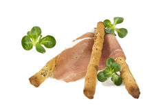 Italian prosciutto on a bread stick Stock Images