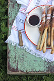 Italian prosciutto ham grissini bread sticks Royalty Free Stock Photography