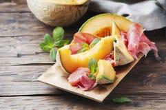 Italian prosciutto with sweet melon Royalty Free Stock Photos