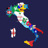 Italian provinces. Map of Italy with italian provinces marked by their flags Royalty Free Stock Photography