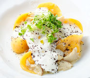 Italian pumpkin ravioli tortellini with Porcini mushrooms Royalty Free Stock Photo