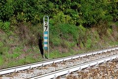 Italian railway system mileage milestone sign Stock Image