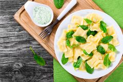 Italian ravioli with creamy spinach sauce, top view Royalty Free Stock Image
