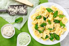 Italian ravioli filled with ricotta cheese and spinach. close-up Stock Photo