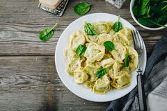 Italian ravioli pasta with spinach and ricotta on wooden background. Italian ravioli pasta with spinach and ricotta on wooden rustic background Stock Images