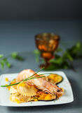 Italian ravioli and shrimp starter Stock Image