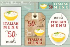 Italian Ravioli Stickers Set. On Blue Wooden Background in Retro Style. Vector Illustration Royalty Free Stock Photo
