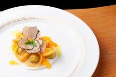 Italian ravioli tortellini with caviar royalty free stock images