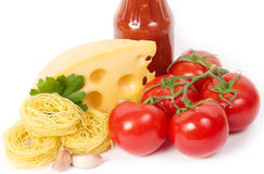 Italian raw pasta with tomatoes, cheese Stock Image