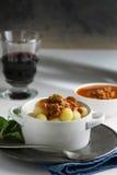 Italian recipe: potato gnocchi made at home with tomato sauce B Royalty Free Stock Photography