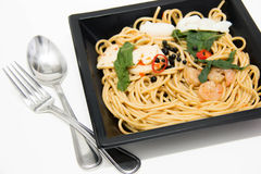 Italian recipe: spaghetti and seafood Stock Image