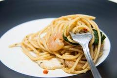 Italian recipe: spaghetti and seafood Royalty Free Stock Photo
